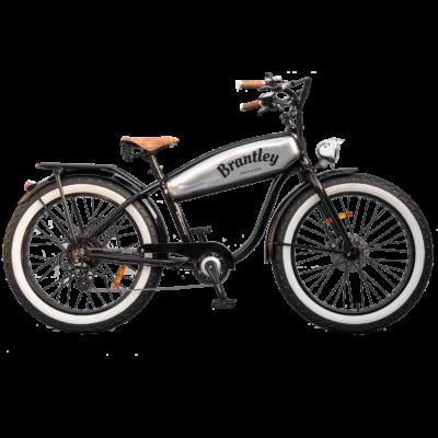 Brantley Retro Electric Fatbike - standaard zwart met zilveren tank