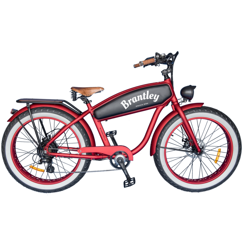 Brantley Retro Electric Fatbikes - standaard mat rood met zwarte tank